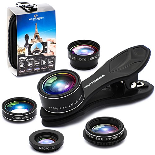 SHUTTERMOON UPGRADED Phone Camera Lens Kit for iPhone 12/11/Xs/R/X/8/7 Smartphones/Pixel/Samsung/Android Phones Camera. 2xTele Lens Zoom Lens+Fisheye Lens+Super Wide Angle Lens&Macro Lens+CPL (5 in 1)