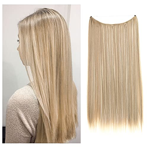 SARLA Halo Hair Extensions Dirty Blonde Secret Wire Headband Straight Long Synthetic Hairpieces 22 Inch for Women Heat Resistant Fiber No Clip (M02&16H613)