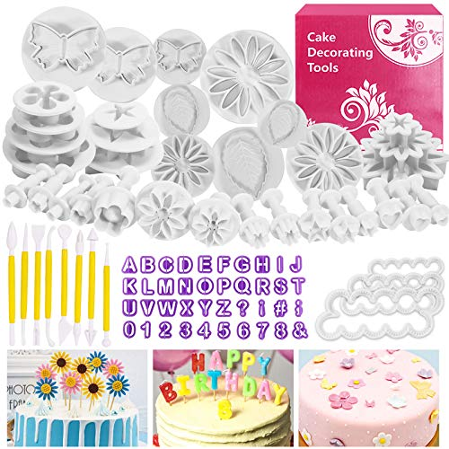 Backen Fondant Set, Buluri Fondant Ausstechformen Set DIY 84 tlg Kuchen Ausstecher Dekoration Mit Premium Backzubehör, Zahlen, Buchstaben,Passend für Ostergeschenke Cupcakes,Fondant Modellierwerkzeug