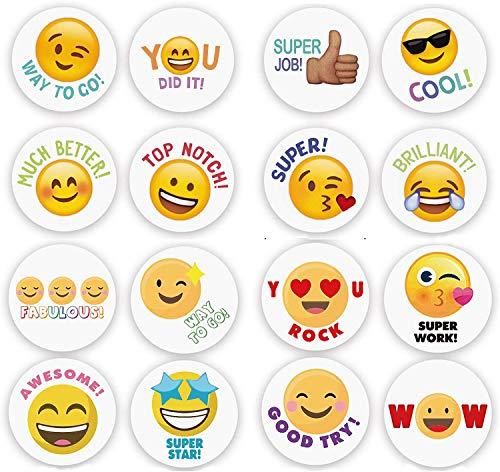Emoji Belohnungssticker Motivationsaufkleber 1000stk,16 Arten Emoji Witzige Sticker, Weihnachten & Geschenksticker