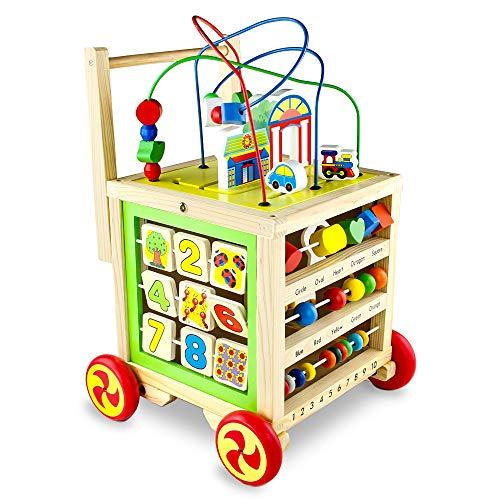 Lauflernwagen Holz Baby Spielzeug Montessori Kinderspielzeug Lauflernhilfe Spiele Baby Walker Geschenke für Kinder ab 1 Jahr Mädchen Junge