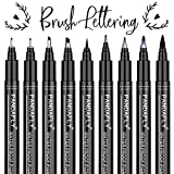 Hand Lettering Pens, Caligraphy Brush Pens Art Markers for Beginners Writing, Drawing, Artist Sketch, Watercolor Illustration, Signature, Scrapbooking, Bullet Journaling, 9 Size (Black)