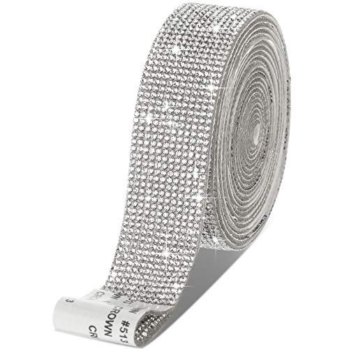 Selbstklebende Kristall Strass Diamant Band DIY Dekoration Aufkleber mit 2 mm Strass für Kunsthandwerk, DIY Event Auto Telefon Dekoration (Silber, 1,06 Zoll x 3 Yards)