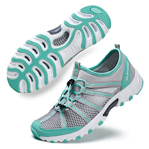 ALEADER Water Shoes for Women, Outdoor, Camp, Kayaking, Hiking, Wet/River Walking Sneakers Lt Gray/Aqua 9 B(M) US