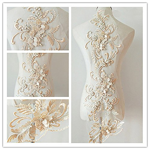 3D Beaded Flower Sequence lace Applique Motif Sewing Bridal Wedding 3in1 20cmx72cm (Champagne)