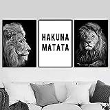 Schwarz-Weißer Löwe Hakuna Matata Zitat Tier Poster und