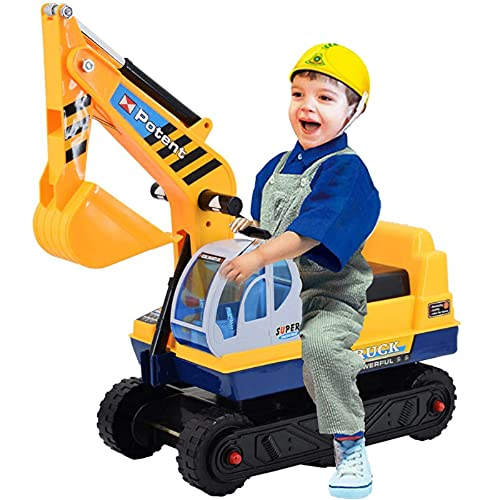 deAO Ride On Excavator Digger Construction Vehicles for Kids 2 in1 Pedal Vehicle Ride on Tractor Pretend Play Toddler Tractor (A)