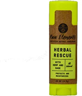 Raw Elements Herbal Rescue Lip Balm | 100% Organic, Protects and Moisturizes Lips With Hemp, Sage & Eucalyptus, Non-GMO, Cruelty Free, All Ages Safe, 0.15oz