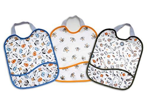 Ti TIN – Confezione di 3 Bavaglini per Bambini in Cotone Plastificato con Tasca | Bavaglino Pappa con Chiusura a Nastro, Traspirante, 23x28cm