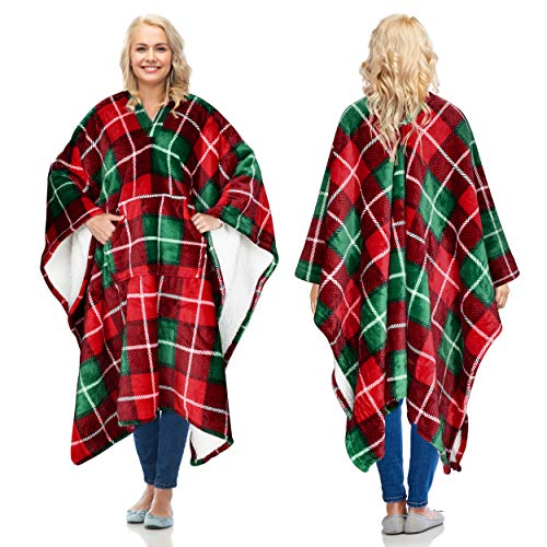 Sherpa Wearable Blanket Poncho for Adult Women Men, Wrap Blanket Cape with Pocket, Warm, Soft, Cozy, Snuggly, Comfort Gift, No Sleeves, Plaid Buffalo Christmas