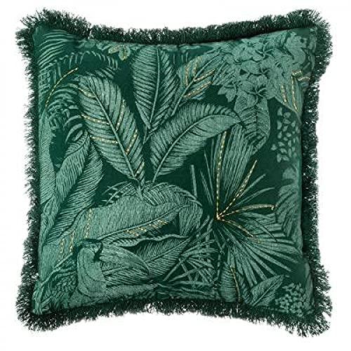 Funda de cojín India 40 x 40 cm para sofá y Cama sin Relleno. Funda de Almohada Decorativa 100% algodón de Selva Bordada para salón o dormitorios.