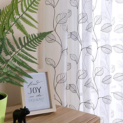 Grey Sheer Curtains for Living Room Curtain Leaf Embroidered Rod Pocket Window Curtains Botanical Geometric Embroidery Semi-Sheer Curtain for Bedroom Window Treatment Drapes Drapery 2 Panels 84 inch