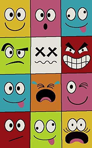 Bravich RugMasters Alfombra Extra Grande Ultra Suave y Gruesa para niños, diseño de Caras sonrientes, Suave y Duradera, Azul y Blanco, 160 x 230 cm