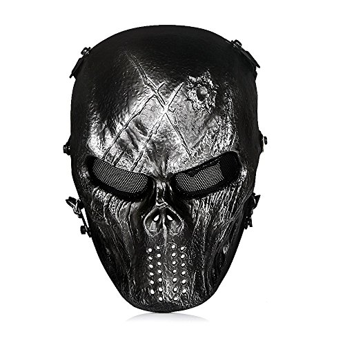 OutdoorMaster Airsoft Mask - Full Face Mask with Mesh Eye Protection (Iron mask)