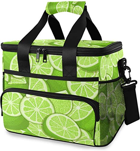 Large Lime Insulated Lunch Bag for Women/Men, Leakproof Reusable Cooler Cooling Tote, Office Work School Picnic Hiking Beach Lunch Box Organizer with Adjustable Shoulder Strap