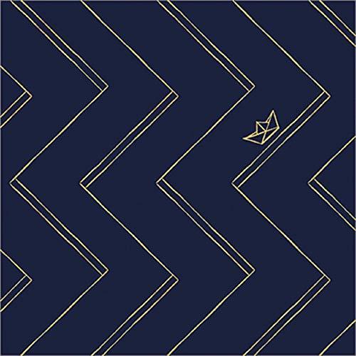 Servilletas (juego de 2 / 40 unidades, 3 capas, 33 x 33 cm, papel azul zigzag, barcos