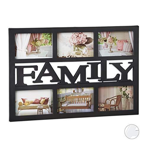 Relaxdays Bilderrahmen Family, Fotorahmen 6 Bilder, Fotocollage selbst gestalten, mehrere Fotos, HxB: 33x48 cm, schwarz