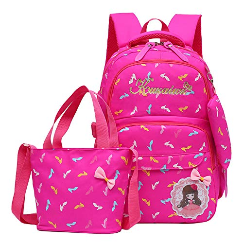 Adanina 3Pcs Heart Prints Preschool/Primary School Book Bag Rucksack for Girls Elementary School Backpack Sets with Lunch Kits
