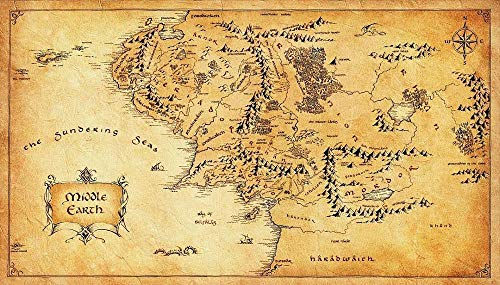wopiaol Kein Rahmen Hobbit map of The Middle Earth Poster Retro Poster Style Home Decoration ng50x75cm
