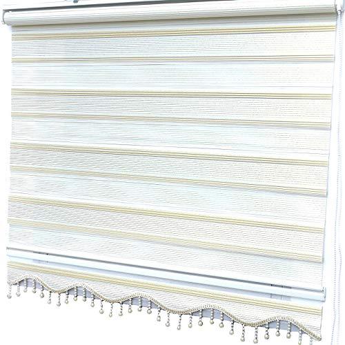 Doppelrollo Klemmfix ohne Bohren Duorollo Gold Glitzer Fensterrollo Gardinen Neuheit 120 x 200 cm