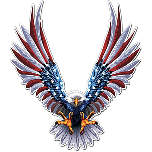Bald Eagle American Flag Sticker/Decal - 6 x 6.75 Inch American Flag Decal (1 Pack)