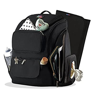 Large Diaper Bag Backpack for Baby Girls & Boys - Black, Travel Size, Insulated Pockets, Towel/Wipes & Gadgets Organizer (Bonus Changing pad) for Moms and Dads - Great Maternity Baby Shower Gift, Medium from Datkaff