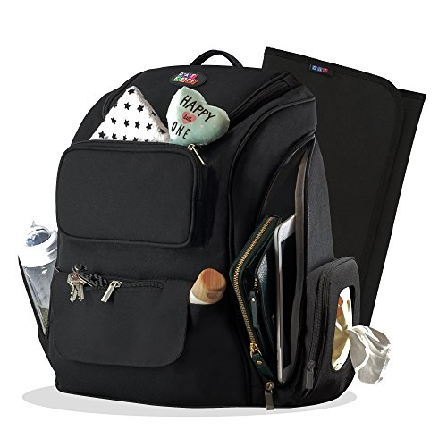 Large Diaper Bag Backpack for Baby Girls & Boys - Black, Travel Size, Insulated Pockets, Towel/Wipes & Gadgets Organizer (Bonus Changing pad) for Moms and Dads - Great Maternity Baby Shower Gift