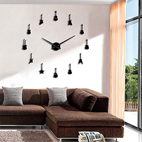 YQMJLF Reloj Pared DIY 3D Grande Rock n Roll Guitarra Reloj Pared Reloj Pared Guitarra Variedad Música Horloge DIY Espejo acrílico Pegatinas 3D Relojes Pared Grandes casa Decor RegaloNegro