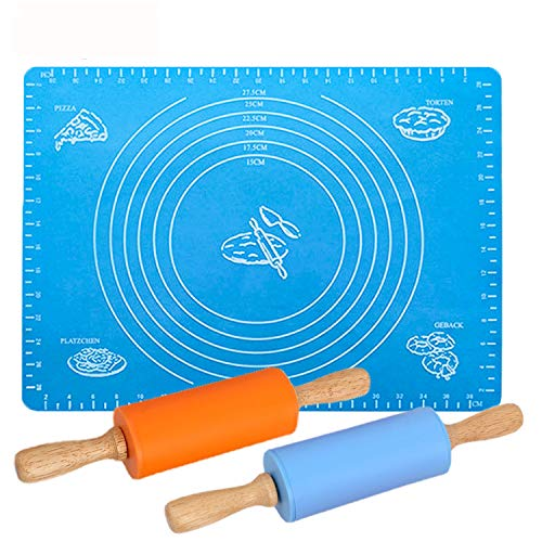 GCOA 9 Inch Rolling Pin Non-Stick Rolling Pin and Pastry Mat Set for Home Kitchen Children Cake3 Pack