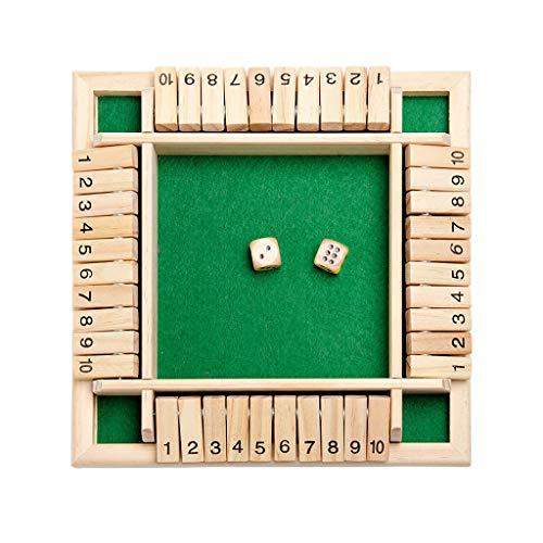 Holzbrettspiel, Deluxe 4 Spieler Shut The Box Holztischspiel, Klassisches Würfelspiel Brettspielzeug, Traditionelles Brettspiel für die Familie,Heimspiel (Grün)