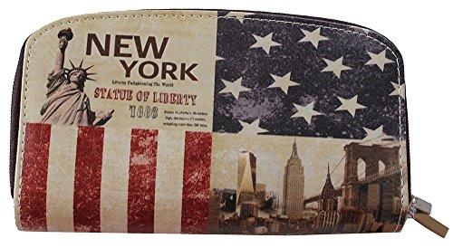 Vintage USA Flagge New York Statue Liberty Double Zip Big Wallet Blau Rot Beige