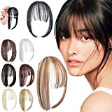 Felendy Clip in Bangs Hair Extensions Natural Fringe Front Full Bangs Straight Wispy Hairpiece with Temple for Women