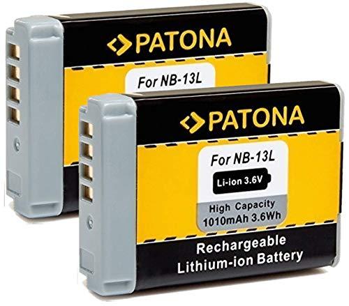 PATONA (2X) Ersatz für Akku Canon NB-13L (echte 1010mAh) - voll kompatibel - auch für die Canon G5 X Mark II und G7 X Mark III