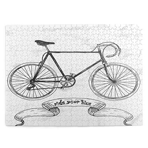 LiBei Jigsaw Puzzles for Kids Adults Toy,Ride Your Bike Lettering With Nostalgic Mountain Bike Hand Drawn Sketchy,500 Piece Picture Puzzle Game,Educational Fun Game for Holiday birthday gi-ft