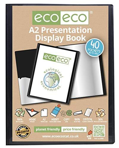 eco-eco A2 50% Reciclada 40 Bolsillo De Color Negro Presentación Libro de Exhibición (eco008)