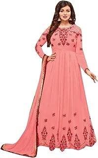 Baby Pink Anarkali Churidar Formal Georgette Salwar Kameez Semi Stitched Indian Women Suit Muslim 8091