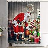 Nochebuena Chimenea Árbol de Navidad Regalos Baño Tela Impermeable Poliéster Cortina de baño Decoración de Cortina de baño,72X72 In