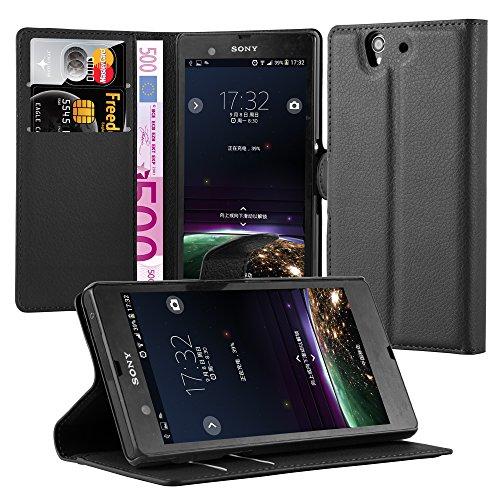 Cadorabo Hülle für Sony Xperia Z in Phantom SCHWARZ - Handyhülle mit Magnetverschluss, Standfunktion & Kartenfach - Hülle Cover Schutzhülle Etui Tasche Book Klapp Style