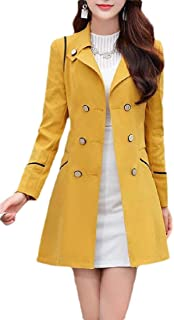 Macondoo Women Outdoor Slim Lapel Outwear Double-Breasted Trench Coat