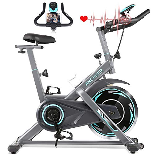 ANCHEER Heimtrainer, Indoor Cycling Bike Fitnessbike Mit Herzfrequenzmonitor & LCD Monitor, Bequeme Sitzkissen, Schwere Schwungrad Upgrade Version, Multi-Grips