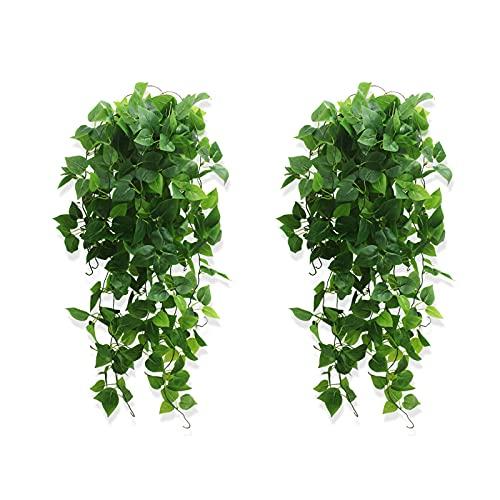 2 Piezas Artificial Hiedra Planta Colgante, Falsa Planta Colgante, Plantas Artificiales Colgantes, para la Pared de Casa, el Jardín, la Cocina, una Boda o Decoración Exterior