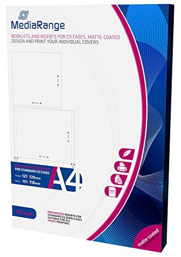 MediaRange MRINK120 Einleger (Vorder und Rückseite für CD-Jewelcases, matt beschichtet, 50er Pack)