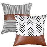 Kiuree Boho Decorative Throw Pillow Covers for Couch Sofa Bed Set of 2 Striped Faux Leather Pillow White and Black Arrow Pillowcase Modern Accent Home Decor 18x18 inch(Arrow+Stripe)