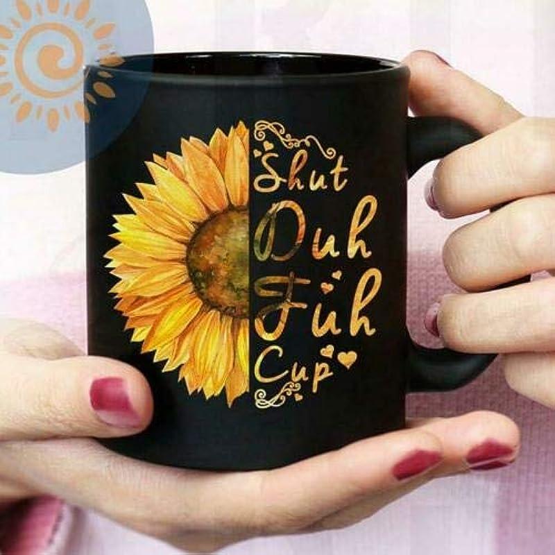 Hippie Sunflower Shut Duh Fuh Cup Mug Black Ceramic 11oz Coffee Tea Cup Gift