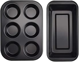 Lovey 2 PCS, 6 Cups Cupcake Tray + Loaf Pans, Nonstick Brownie Cake Pan, Carbon Steel Bakeware for Oven Baking Muffin Tra...