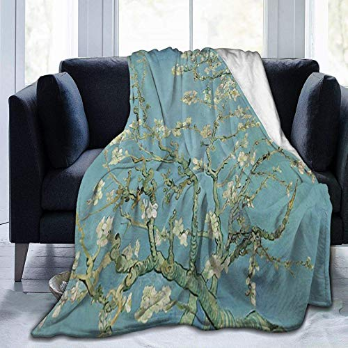 3D printing blanket Van Gogh Almond Flower Tree Soft Throw Blanket Lightweight Flannel Fleece Blanket for Couch Bed Sofa Travelling Camping 150 x 200 cm