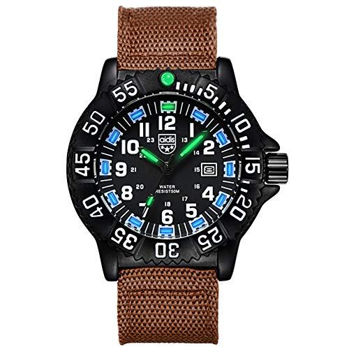 SYLL Reloj de Cuarzo Militar para Hombre con Fecha Verde Azul Manos Luminosas Reloj de Pulsera con Correa de Nailon Impermeable,H