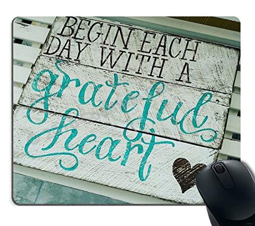 Gaming Mouse Pad Custom, Beginnen Sie jeden Tag mit einem dankbaren Herz Zitate Rustikales Türkis Holz Design, Inspirierende Bibel Vers Schrift Zitat Mauspads
