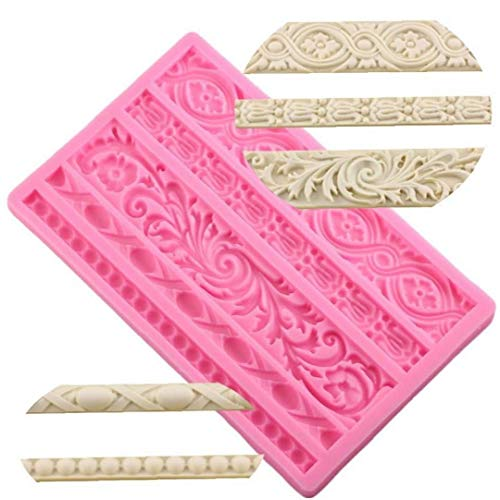 Angoter Sugarcraft Kuchen-Border Dekorieren Rahmen Silikon-Form Barock Scroll Relief Fondant Süßigkeit Ton Schokolade Zuckermasse Moulds