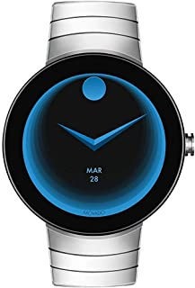Movado Connect Digital Smart Module Stainless Steel Smartwatch, Black/Silver Bracelet (3660017)